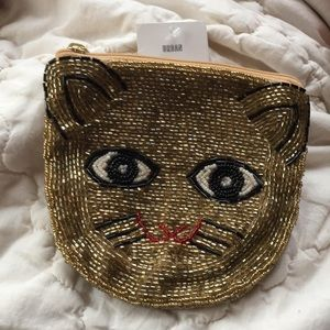 UO Cat Beaded Zip Pouch